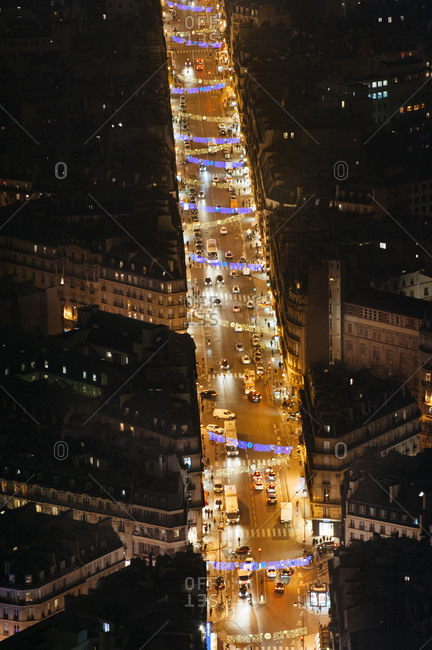Aerial view of Parisian street at night