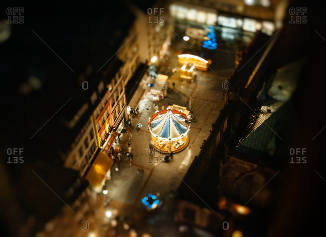 Aerial view of the carousel in the Christmas Market, Strasbourg, France.