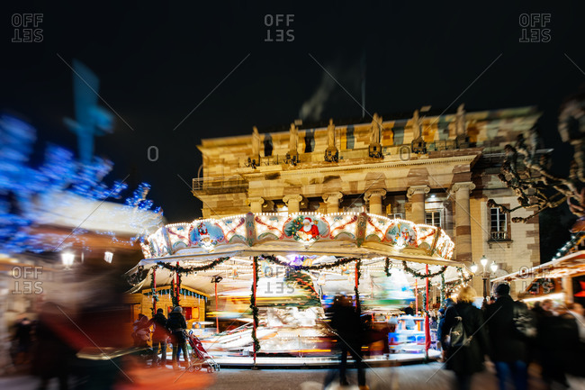 Merry-go-round at the Christmas Market in Strasbourg, France
