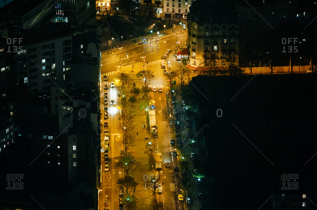Aerial view of an intersection in Paris at night