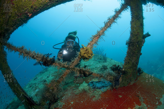 Scuba diver investigates the wreckage of an airplane from World War II
