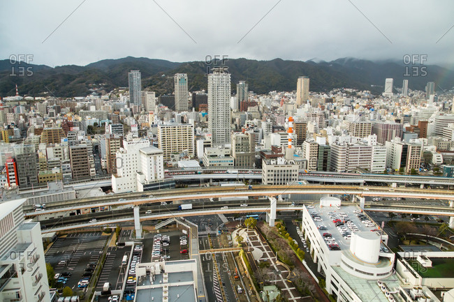February 15, 2014: Bird's eye view of Kobe, Japan
