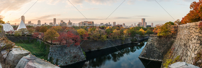 Castle walls along river in Osaka, Japan