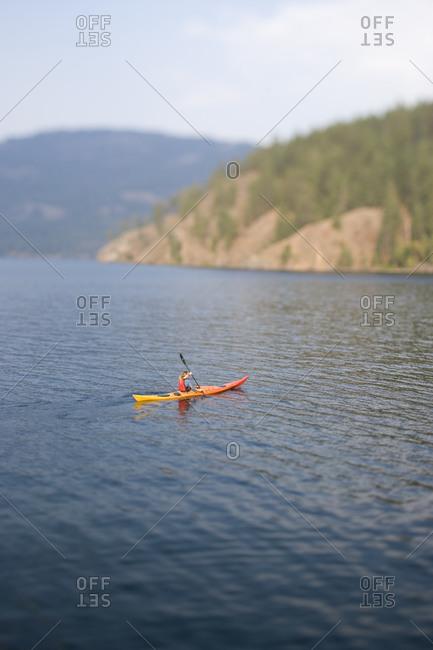 Kayaking on an Idaho Lake in Late summer