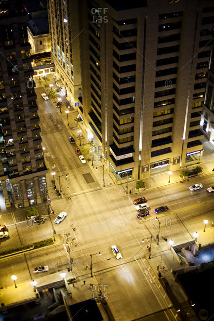 Chicago, IL, USA - July 5, 2010: An aerial view of a busy intersection in a large city at dusk