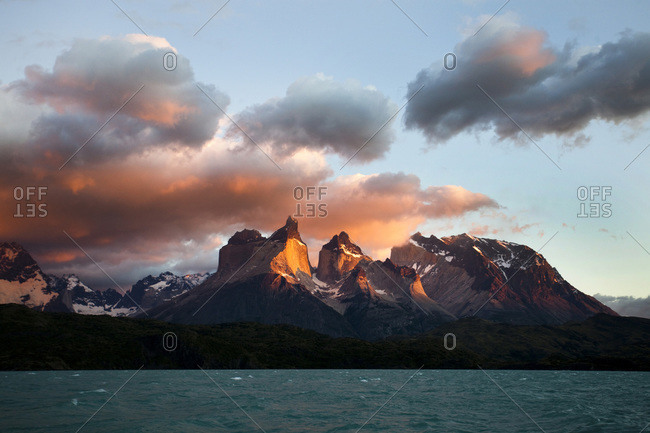 The iconic scene of Torres del Paine National Park at sunrise