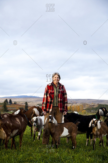 A portrait of a female goat farmer in a field at sunrise surrounded by goats