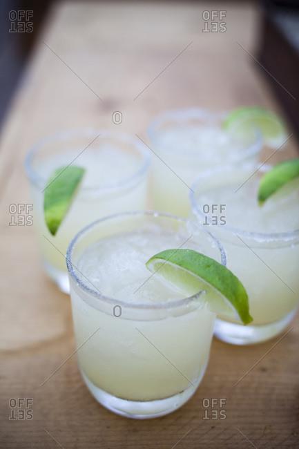 Four margaritas with limes in Todos Santos, Baja California Sur, Mexico
