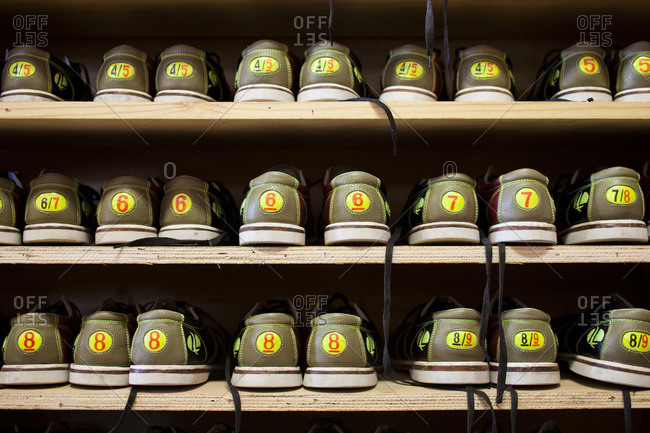 Bowling shoes lined up at Ebey Bowl, Coupeville, WA, USA