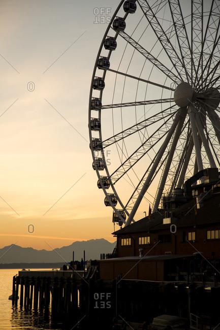 Seattle, WA - October 8, 2012: Ferris wheel on the waterfront in downtown Seattle, WA