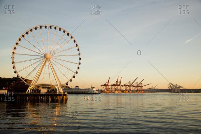Seattle, WA - October 8, 2012: Seattle's newly built Ferris wheel on the waterfront in downtown Seattle, WA