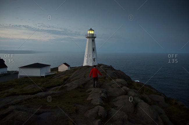 The coastline and a lighthouse from Cape Spear near St Johns, Newfoundland, Canada