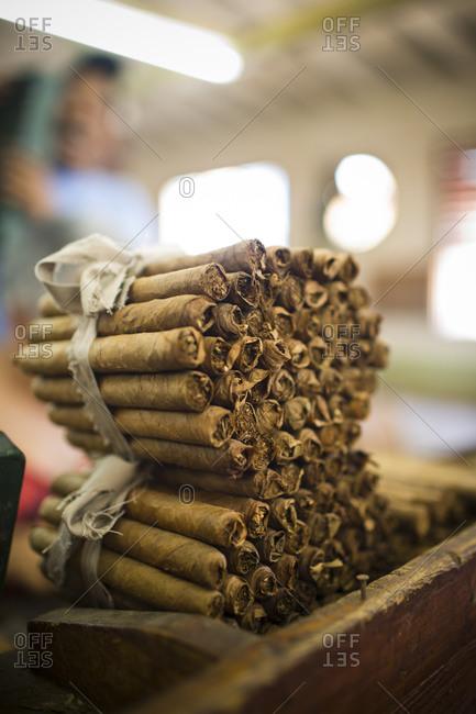 Stack of cigars in a cigar factory in Trinidad, Cuba