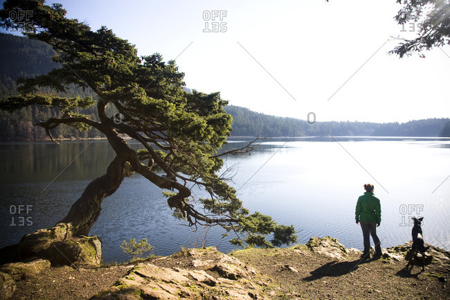 A girl stands with her dog at an overlooking a body of water surrounding Orcas Island, Washington