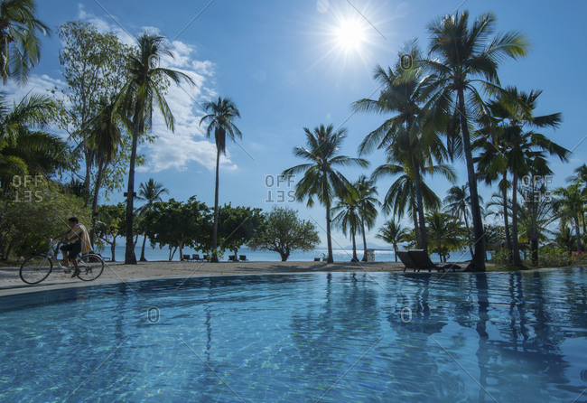 Palawan, Philippines - April 22, 2014: The pool at Dos Palmas Island Resort