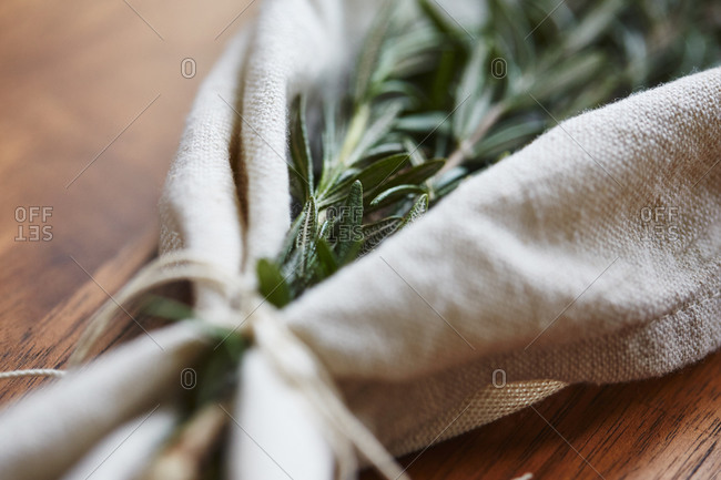 Rosemary wrapped in a cloth