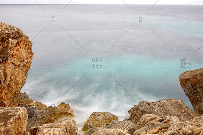 Detail of rocks at Cala Llombards. Island of Mallorca.
