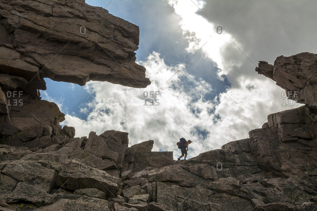 A man hiking the Keyhole route on Long's Peak, Rocky Mountain National Park, Estes Park, Colorado.