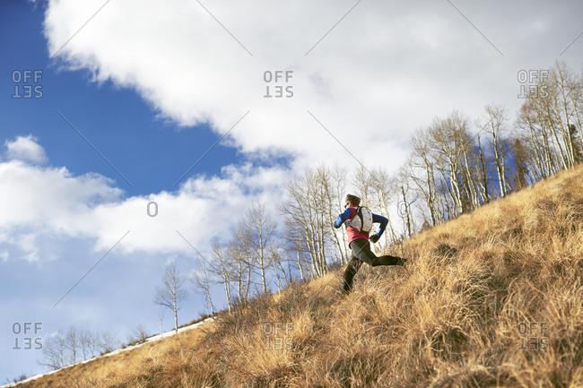 An adult male trail running through a grassy trail in Telluride Colorado.