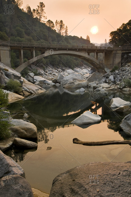 South Yuba River bridge and smoky sunset, Nevada County