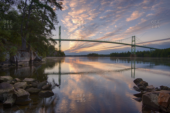 Canadian span of the Thousand Islands Bridge at dawn