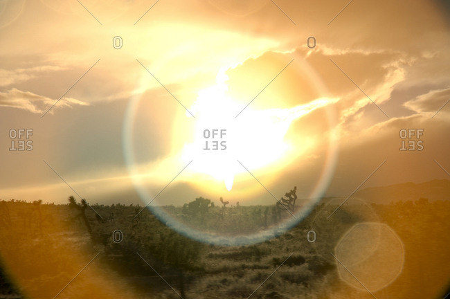 The sun breaks through storm clouds in Joshua Tree, California.