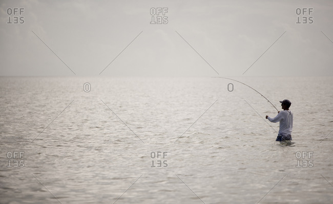 Fly fisherman wades in ocean and pulls in a fish