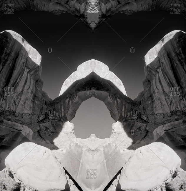 UTAH, USA - September 24, 2014: An artistic impression of natural sandstone formations in Arches National Park.