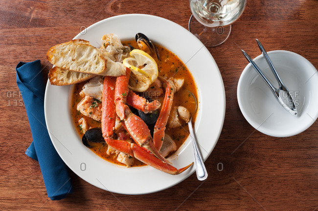 Cioppino stew with crab legs