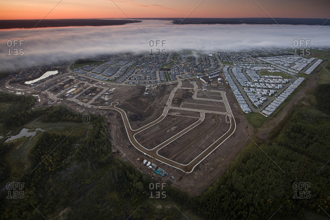 Aerial view of new housing being built in Fort McMurray, Canada