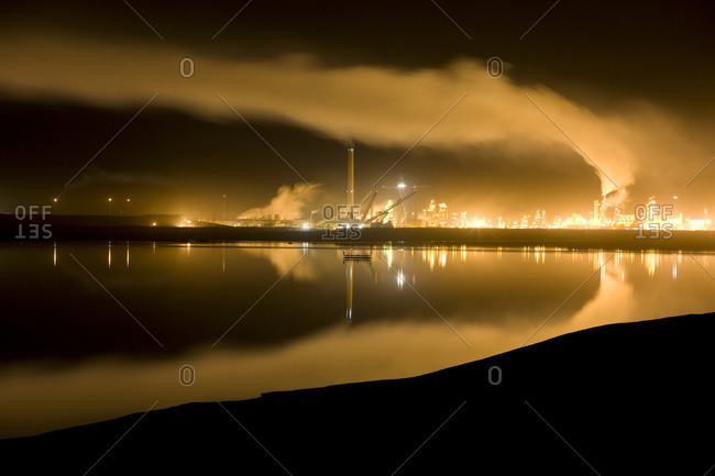 Oil sands processing plant at night, Fort McMurray, Canada