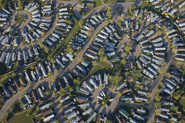 Aerial view of a trailer park in Fort McMurray, Canada