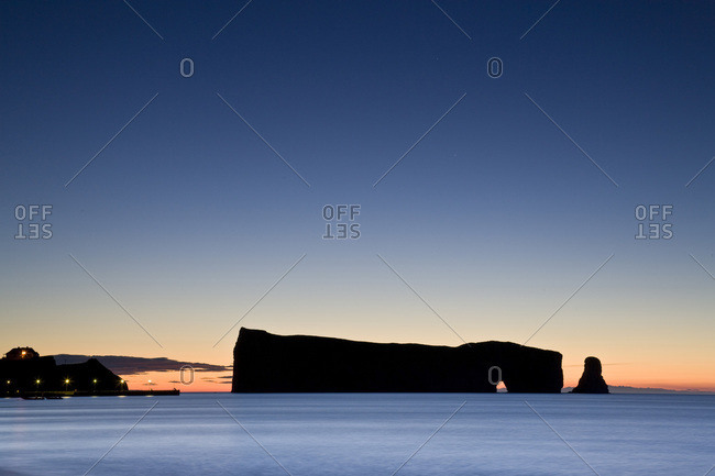 Perce Rock at dawn in Quebec, Canada