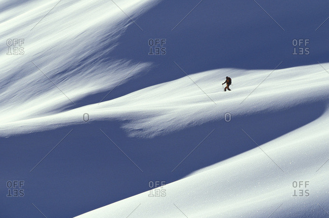 Backcountry skier at Rogers Pass, Glacier National Park, British Columbia, Canada