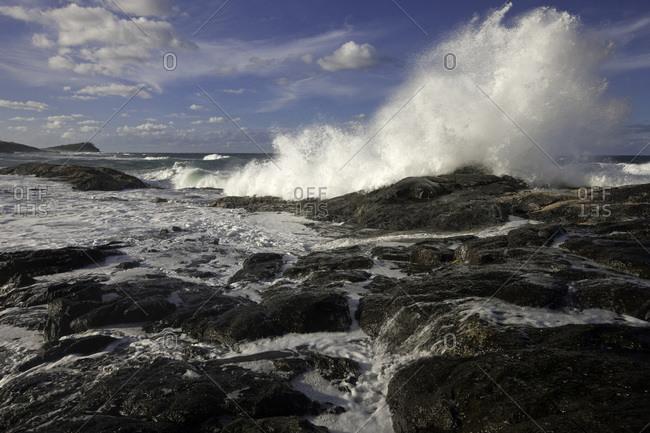 Waves at the Champagne Pools coast, Fraser Island, Australia