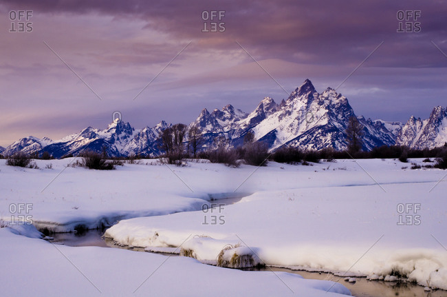 The Grand Tetons covered in snow