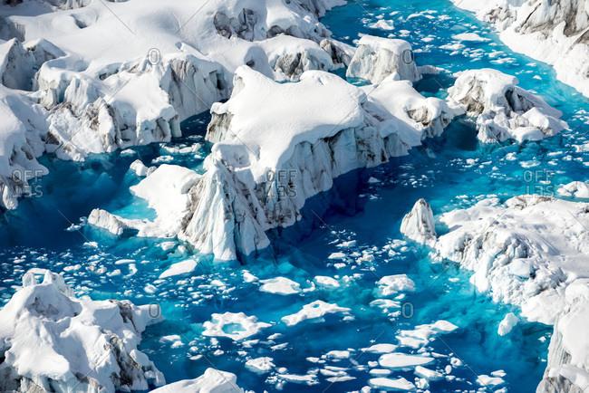 Aerial view of melting glacier in Alaska, USA