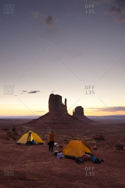 Camping at the Mitten Buttes in Monument Valley, Kayenta, Arizona, USA
