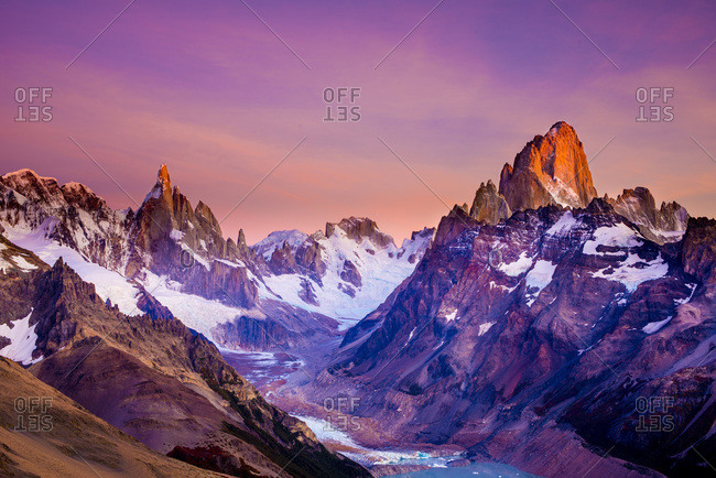 View of the snow-covered Mt. Fitz Roy and Cerro Torres in El Chalten, Patagonia, Argentina