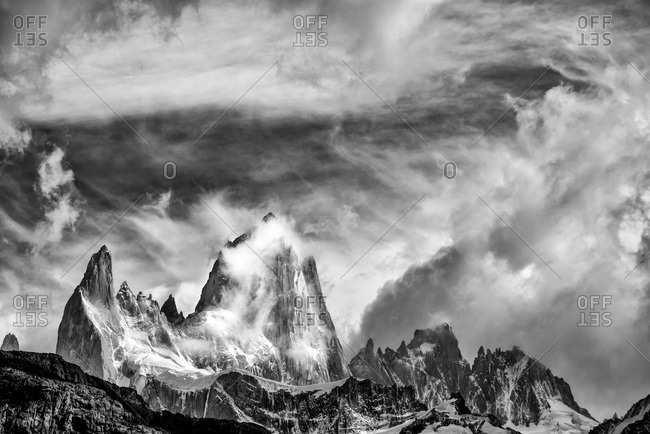 Clouds over Mt. Fitz Roy in El Chalten, Patagonia, Argentina