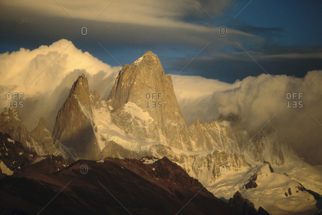 View of Mt. Fitz Roy during sunrise in the Glaciers National Park, Argentina