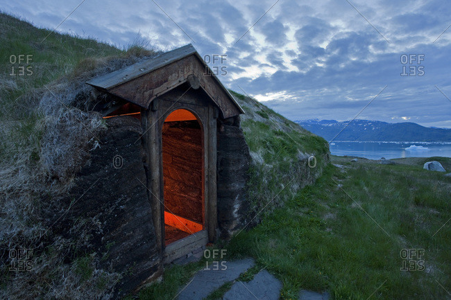 A reconstructed Norse farmhouse in Qassiarsuk, Greenland