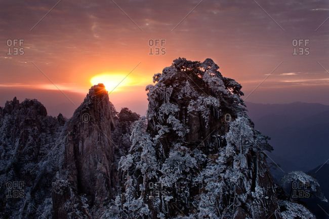 Sunset over Yellow Mountain, China