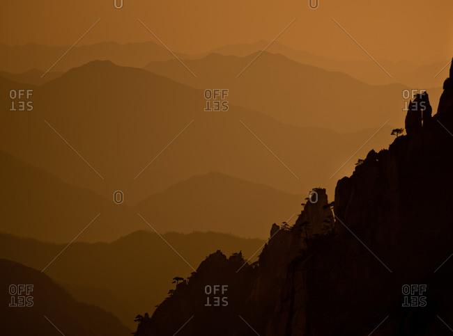 Layers of mountains at Yellow Mountain, China