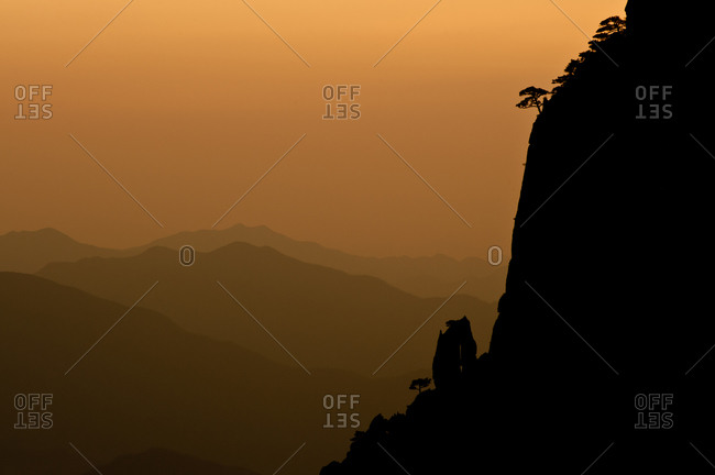 Silhouette of mountains at Yellow Mountain, China