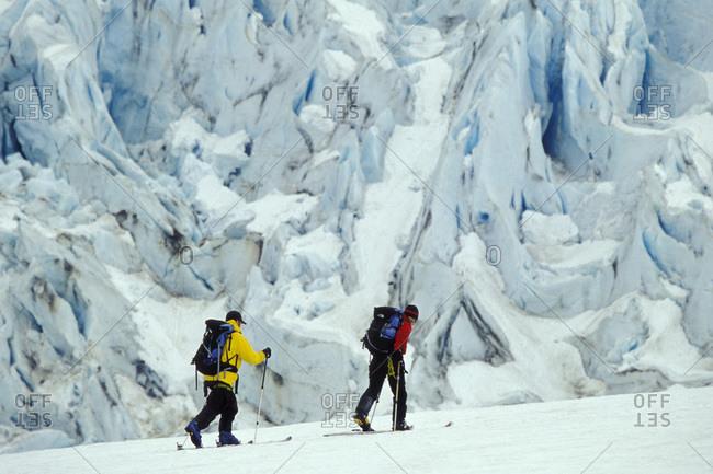 People on ski-touring at the Walker Glacier in Glacier Bay National Park, Alaska