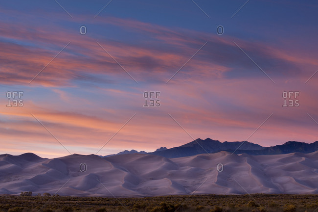 Large sand dunes in Great Sand Dunes National Park, Alamosa, Colorado, USA