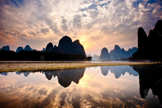 Reflections on Li River, Guilin, Guangxi, China