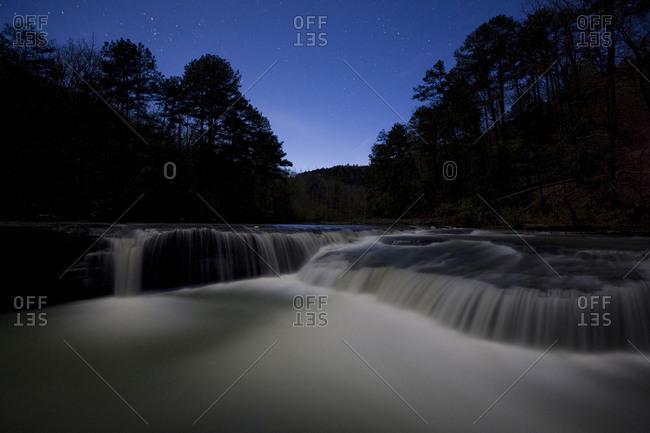 Haw Creek Falls by moonlight in Ozark Highlands Trail, Arkansas, USA