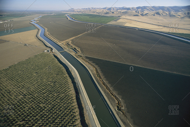 Aerial view of the California Aqueduct and the Delta-Mendota Canal near Patterson, CA, USA